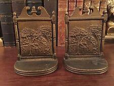 Vintage Bradley & Hubbard Edgar Alan Poe Fordham Cottage Cast Iron Bookends