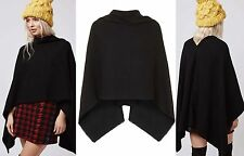 RRP £22 Black Kitted Cowl Neck Warm Smart Poncho Shawl Wrap Scarf