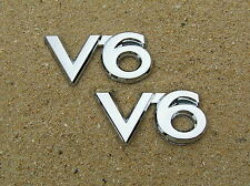 V6 CAR BADGE PAIR *New* Chrome Plastic Emblem - Toyota Camry Commodore