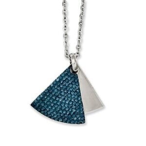 NEW Stainless Steel Blue Crystals & Brushed Triangles 20 inch Necklace