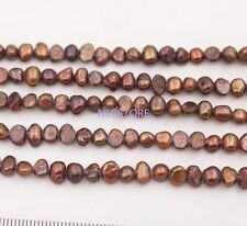 "Wholesale 5 strands 5-6mm dark brown baroque pearl stone loose beads 14""  long"