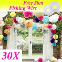 Wedding decorations 30 tissue paper pompoms 3sizes party pom poms (special offer