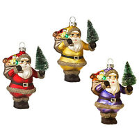Set/3 Santa Bottle Brush Christmas Tree Ornaments Red Purple Gld Retro Vtg Decor