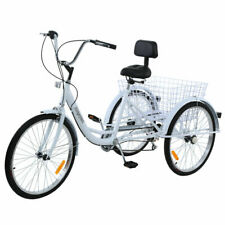 Ridgeyard 24'' Adult Tricycle Trike 3-Wheel Shimano 7 Speed 6 Gears white