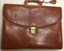 MANCINI ITALIAN BROWN LEATHER BRIEFCASE DOUBLE GUSSET LAPTOP