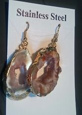 Occho Occo Druzy  Carmel Tan Slice Gold Wrapped Dangle Earrings