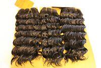 100% Human Hair Bundle Deep Wave Weaving Extensions Natural Black