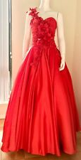 PANOPLY RED ONE-SHOULDER FLOWER DETAILED BALLGOWN HOMECOMING DRESS SZ 4