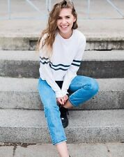 New! Brandy Melville White/navy  striped long sleeve crewneck Acacia top NWT S/M