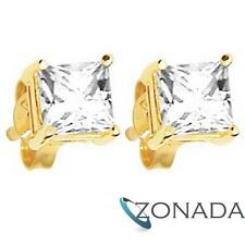 Simulated Diamond 9k 9ct Solid Yellow Gold Stud Earrings