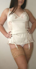 Janet Reger Bridal Silk Look Deep Lace Top Stocking Large Natural Tan RRP £9.50