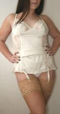 Janet Reger look de novia de seda media superior de encaje profundo grandes Bronceado Natural Rrp £ 9.50