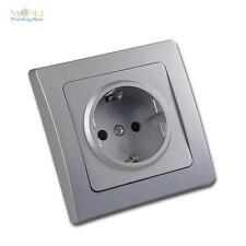 DELPHI SchutzkontaktSteckdose Schuko Wandsteckdose Silber mit Rahmen Steckdose