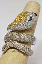 Snake Ring 2.42 Carat Diamonds & 18k White Gold Size: 6.5