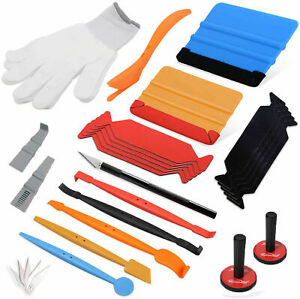 Car Wrapping Squeegee Felt 2 Magnets Auto Vinyl Wrap Tucking Gasket Tools Kit