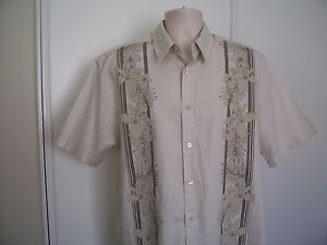 Centro Men's Large L Beige Floral Short sleeve Linen Blend Camp Shirt