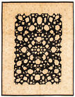 """Vintage Hand-knotted Carpet 8'10"""" x 11'9"""" Traditional Black Wool Area Rug"""
