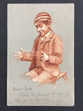 Vintage PC: Artist Signed #A336: Ser 204: School Boy Cats Cradle: Posted 1903