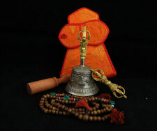 "Tibetan Om Mantra 6"" Quality Sound Bronze Bell Dorje Mala Stick Cover Set Nepal"