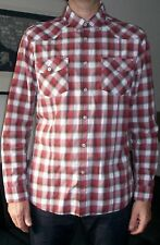 Burton Men's long sleeved red and grey checked brushed cotton shirt. L.