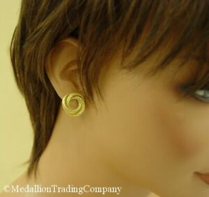 18k Solid Yellow Gold Round Twisted Rope Open Knot Button Clip On Earrings 20mm