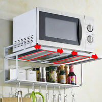 2-Tier Aluminum Microwave Bracket Rack Stand Storage Holder Wall Kitchen Shelf