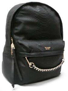"""NWT VICTORIA'S SECRET """"PINK"""" PAYTHON & GOLD CHAIN CITY BACKPACK ~BLACK~ SOFT!!"""