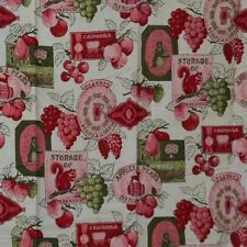 Kitchen Curtain Toile Rod Pocket Window Panel Early American Red Pink Fruit Vtg