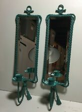 Vintage Homco Metal Turquoise Wall Bevel Mirror Sconces Sconces Candle Holders