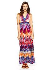 SANDRA DARREN Pink & Blue Multi V-Neck Sleeveless Graphic Maxi Dress Sz 10 NEW!