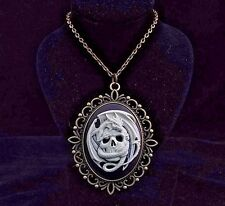 "24"" Vintage Style Skull Dragon Cameo Pendant Necklace"