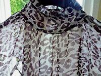 NEU*36 38 S M*Vero Moda DENIM*zarte Chiffon Bluse Top,LEO Print,Beige Braun Crem