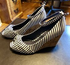 Rampage Sz 7 Kendall Wedges For Women Navy & White Striped Canvas Peep Toe