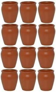 Kulhar Cups Earthen Assorted Set of 12 Kullad Natural Mud Mugs from India