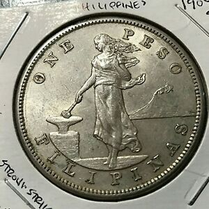 1904-S PHILIPPINES SILVER ONE PESO SCARCE CROWN