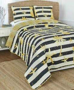 Black & White Tropical Pineapple Flamingo Quilt Set Nautical Starfish Gold Quilt