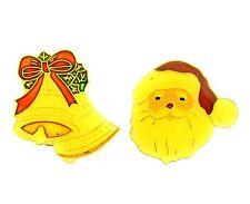 Santa Button Covers Enamel Gold Tone Christmas Bell 2 pcs