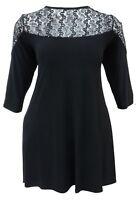 Womens New Long Black Swing Top/ Dress Black Lace Yoke Gothic Range Ladies 16-26