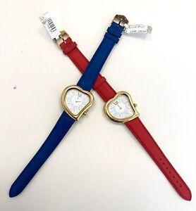 Yves Saint Laurent YSL Woman's Gold Tone Heart Quartz Watches x 2 Units Faulty
