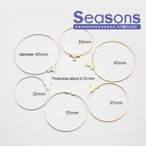 3 colours 25mm 30mm 40mm Earring Findings Ear Wire Beading Hoop Loop