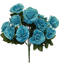 12 Open Roses Turquoise Blue ~ Silk Wedding Flowers Bridal Bouquets Centerpieces
