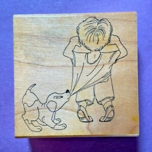Art Impressions Rubber Stamp Wood Mount Back Of Boy Dog Pulling Shirt Puppy VTG