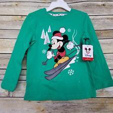 Disney Mickey Mouse Skiing Boy's T-Shirt Tee 2T Green Holiday Long Sleeve NWT