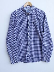 "Fabulous BEN SHERMAN Men's Blue/White Gingham Checked Long Sleeve Shirt XL / 44"""