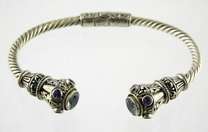 AE 925 Sterling Silver Prasiolite Amethyst Gemstone Cuff Cable Bracelet 7.75 In