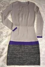 ITALY D.Exterior Mix Gray Purple Color-block Drop Waist Wool Sweater Dress sz S