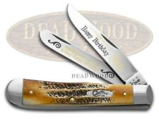 CASE XX Happy Birthday Son 6.5 Bone Stag Trapper 1/999 Stainless Pocket Knife