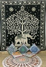 Elephant Tree Double Tapestry Wall Hanging Modern Bedding Bedspread Cotton Hippy