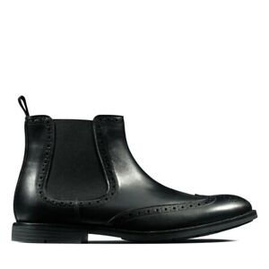 Clarks Ronnie Top Mens Chelsea Pull On Brogue Black Leather Boots Size UK 10.5 G