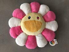 TAKASHI MURAKAMI 21 Inch Pink White Flower Cushion Plush Pillow Kaikaikiki NWT